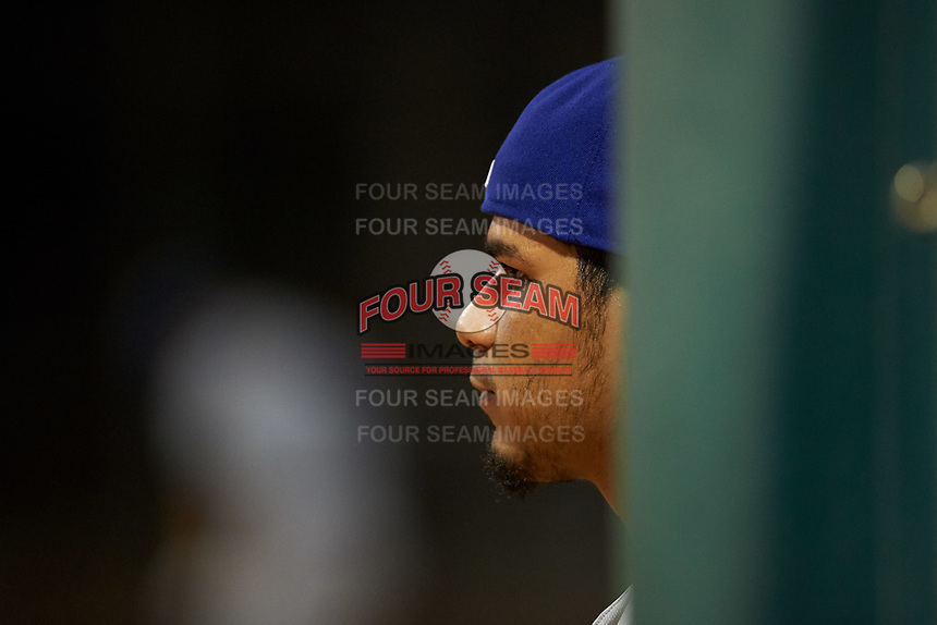 AZL Dodgers Lasorda Wladimir Chalo (8) watches from the dugout during an Arizona League game against the AZL White Sox at Camelback Ranch on June 18, 2019 in Glendale, Arizona. AZL Dodgers Lasorda defeated AZL White Sox 7-3. (Zachary Lucy/Four Seam Images)