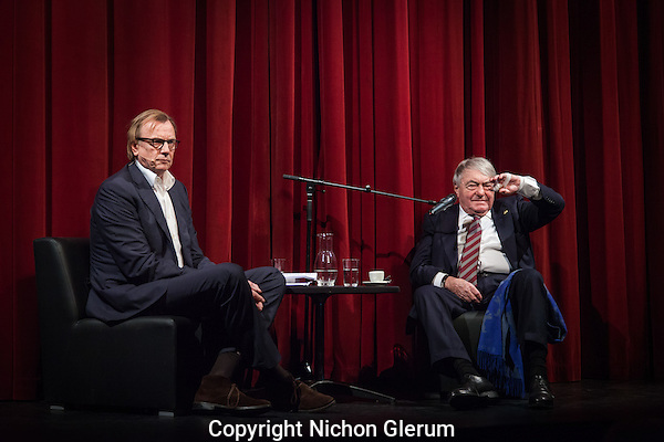 "Amsterdam, 26-11-2013, International Documentary Film Festival 2013. Chris Kijne talks to Claude Lanzmann in de Kleine Komedieabout his new film ""The Last of the Unjust"", about Shoah and about his memoires.  Photo: Nichon Glerum"