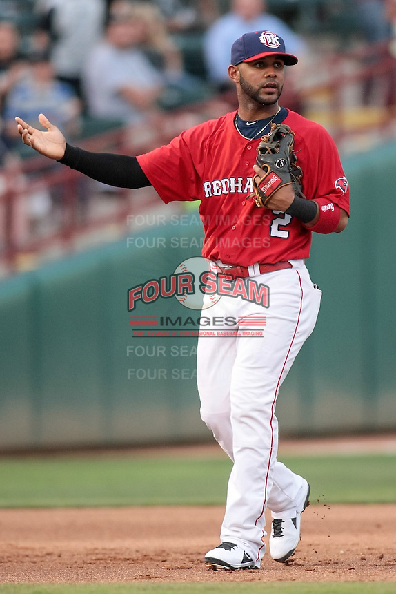 Jonathan Villar (2) of the Oklahoma City RedHawks looking to the umpire after a call during the Pacific Coast League game against the Round Rock Express at Chickashaw Bricktown Ballpark on June 14, 2013 in Oklahoma City ,Oklahoma.  (William Purnell/Four Seam Images)