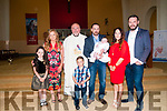 Baby Kyle, son of Eddie & Charlotte Quinn, Moyvane who was christened in Moyvane Church by Fr. Kevin McNamara on Sunday last and afterwards at Speedie's Bar, Moyvane. L- R : Kayleigh Quinn, Fiona Sheehy, Fr. Kevin McNamara, Davin, Eddie, Kyle & Charlotte Quinn & Addrew Sheehy.