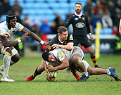 January 7th 2018, Ricoh Arena, Coventry, England;  Aviva Premiership rugby, Wasps versus Saracens;   Mako Vunipola (Saracens) and Thomas Young (Wasps) compete for the ball during the Aviva Premiership (Round 13) match between Wasps and Saracens rfc at the Ricoh Stadium