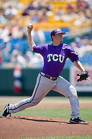 TCU starting pitcher Kyle Winkler in Game 13 of the NCAA Division One Men's College World Series on June 26th, 2010 at Johnny Rosenblatt Stadium in Omaha, Nebraska.  (Photo by Andrew Woolley / Four Seam Images)