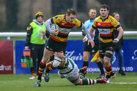 Harry CASSON of Ealing Trailfinders tackles during the Championship Cup match between Ealing Trailfinders and Richmond at Castle Bar , West Ealing , England  on 15 December 2018. Photo by David Horn.