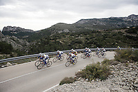 Team Topsport Vlaanderen - Baloise (with Belgian National Champion Preben Van Hecke) training in the Alicante Province coming down the Coll de Rates in preparation of the new race season ahead.<br /> <br /> 2016 Trainingcamps