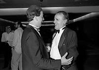 FILE - Le Ministre Andre Vallerand et Serge Losique a la cloture du FFM , le 1er septembre 1986<br /> <br /> PHOTO : Agence Quebec Presse