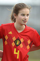 20180314 - TUBIZE , BELGIUM : Belgian Zoe Van de Cloot pictured during the friendly female soccer match between Women under 15 teams of  Belgium and Gemany , in Tubize , Belgium . Wednesday 14 th March 2018 . PHOTO SPORTPIX.BE / DIRK VUYLSTEKE