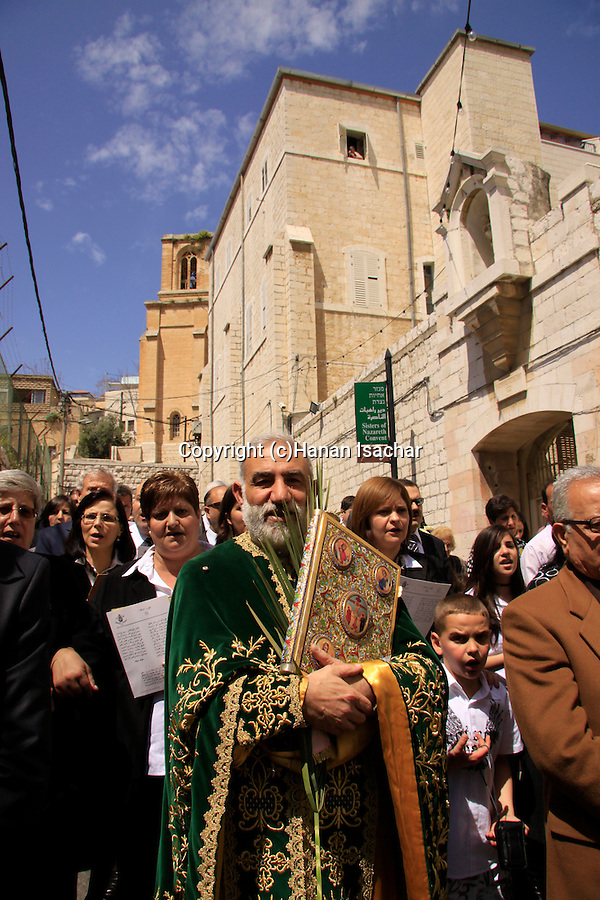 Israel, Lower Galilee, Abouna Emile Shoufani leading the Greek Catholic Palm Sunday procession in Nazareth