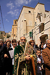 Israel, Lower Galilee, Abouna Emile Shoufani leading the Greek Catholic Palm Sunday procession in Nazareth