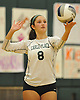 Erin Delio #8 of Carle Place serves during the Nassau County varsity girls volleyball Class C championship against East Rockaway at SUNY Old Westbury on Tuesday, Nov. 8, 2016. East Rockaway won 3-0.