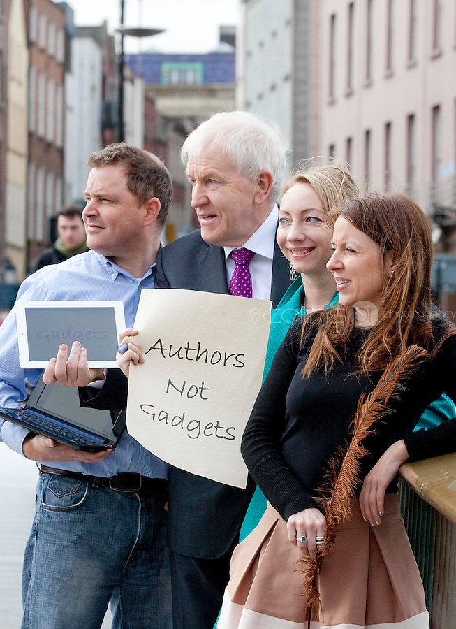 "NO REPRO FEE. Authors not Gadgets. Pictured are L-R  Darragh O'Connell, Oscar Nominated Brownbag Films based in Dublin (""Octonauts""), Jimmy Deenihan TD, Minister of Arts, Heritage and Gaeltacht Affairs, Juanita Wilson, Oscar nominated Irish  filmmaker (The Door, As If I Am Not There) and Birch Hamilton , Executive Director, Screen Directors Guild of Ireland (SDGI). The Screen Directors Guild of Ireland (SDGI) welcomed a large number of directors and writers from across the globe to a high-profile international conference in The Morrison Hotel, Dublin today.  The conference has a particular focus on the issue of authors' rights as many directors and writers are struggling to have their voices heard amidst the technological clatter and noise. Picture James Horan/Collins Photos"
