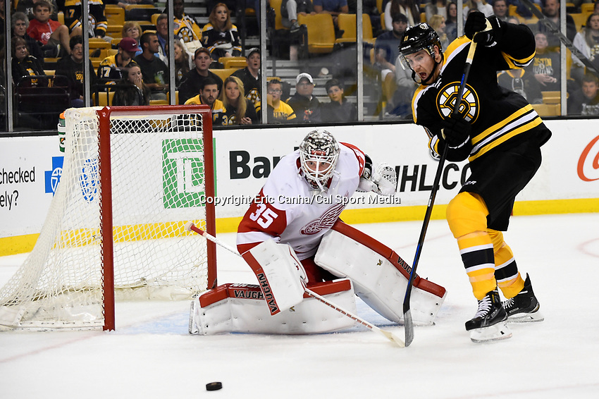 Monday, September 28, 2015, Boston, MA - Detroit Red Wings goalie Jimmy Howard (35) and Boston Bruins right wing Jimmy Hayes (11) both focus on the loose puck during the NHL game between the Detroit Red Wings and the Boston Bruins held at TD Garden, in Boston, Massachusetts. Detroit defeats Boston 3-1 in regulation time. Eric Canha/CSM