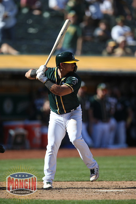 OAKLAND, CA - SEPTEMBER 20:  Franklin Barreto #1 of the Oakland Athletics bats against the Los Angeles Angels of Anaheim during the game at the Oakland Coliseum on Thursday, September 20, 2018 in Oakland, California. (Photo by Brad Mangin)