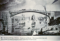 Historic photo of Sunderland Bridge, 1793-96. Single arch of 236 feet. It is located in County Durham, England.