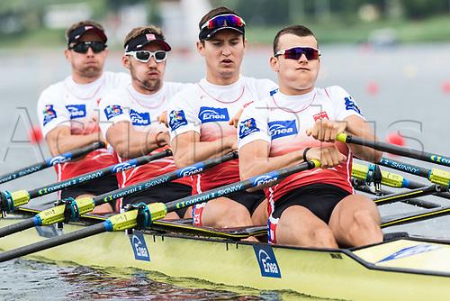 June 16th 2017; Poznan, Poland; 2017 World Rowing Cup II;  Mateusz Biskup, Miroslaw Zietarski, Wiktor Chabel, Dariusz Radosz (POL) Mens Fours