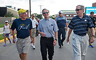 August 13, 2017; University of Notre Dame President Rev. John I. Jenkins, C.S.C., and Jack Brennan, chairman of the University of Notre Dame's Board of Trustees, join the pilgrims for the first two miles of ND Trail to Kimmell Park in Vincennes, Indiana. <br />