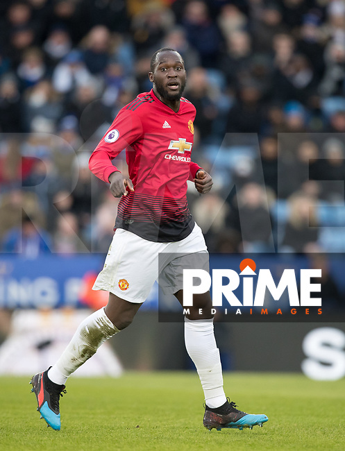Romelu Lukaku of Man Utd during the Premier League match between Leicester City and Manchester United at the King Power Stadium, Leicester, England on 3 February 2019. Photo by Andy Rowland.