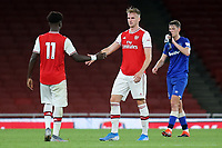 Bukayo Saka and Rob Holding of Arsenal shake hands at the final whistle during Arsenal Under-23 vs Everton Under-23, Premier League 2 Football at the Emirates Stadium on 23rd August 2019