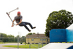 CHESHIRE, CT-6 July 2015-070615EC01-  Connor Ingman practices a trick, called an alley-oop bri-flip, on his scooter at Cheshire's Bartlem Park Monday afternoon. Ingman, 17, is sponsored by Proteus Clothing company and is hoping to go professional one day. Erin Covey Republican-American