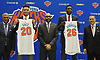 New York Knicks 2018 NBA Draft picks Kevin Knox (first round, ninth overall), second from left, and Mitchell Robinson (second round, 36th overall), second from right, pose with, from left, President Steve Mills, Head Coach David Fizdale (wearing glasses) and General Manager Scott Perry during the draftees' introductory news conference at Madison Square Garden Training Center in Greenburgh, NY on Friday, June 22, 2018.