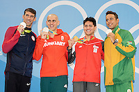 Phelps Michael USA tie for silver medal together with Le Clos Chad RSA and Cseh Laszlo HUN and Schooling Joseph SIN gold medal<br /> 100 butterfly men<br /> Rio de Janeiro  XXXI Olympic Games <br /> Olympic Aquatics Stadium <br /> swimming finals 13/08/2016<br /> Photo Giorgio Scala/Deepbluemedia/Insidefoto