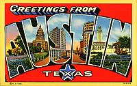 Greetings from Austin Capitol of Texas Postcard illustration is an iconic Austin image originally from a 1937 postcard.