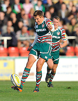 Leicester, England. Toby Flood of Leicester Tigers clears the ball during the Aviva Premiership match between Leicester Tigers and Harlequins at Welford Road on September 22, 2012 in Leicester, England.