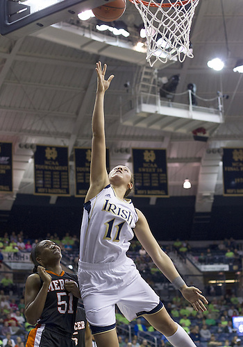 November 20, 2012:  Notre Dame forward Natalie Achonwa (11) goes up for a shot during NCAA Women's Basketball game action between the Notre Dame Fighting Irish and the Mercer Bears at Purcell Pavilion at the Joyce Center in South Bend, Indiana.  Notre Dame defeated Mercer 93-36.