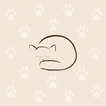 Cute snuggled sleeping cat artistic illustration, minimalistic design with paw prints, brown on beige ivory background