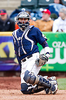 Brett Burch (20) of the Oral Roberts Golden Eagles plays defense during a game against the Missouri State Bears on March 27, 2011 at Hammons Field in Springfield, Missouri.  Photo By David Welker/Four Seam Images