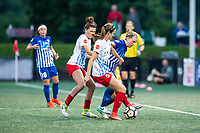 Boston, MA - Friday July 07, 2017: Arin Gilliland, Kathleen Naughton and Natasha Dowie during a regular season National Women's Soccer League (NWSL) match between the Boston Breakers and the Chicago Red Stars at Jordan Field.