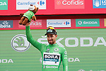 World Champion Peter Sagan (SVK) Bora-Hansgrohe takes over the points Green Jersey at the end of Stage 10 of the La Vuelta 2018, running 177km from Salamanca to Fermoselle. Bermillo de Sayago, Spain. 4th September 2018.<br /> Picture: Unipublic/Photogomezsport | Cyclefile<br /> <br /> <br /> All photos usage must carry mandatory copyright credit (&copy; Cyclefile | Unipublic/Photogomezsport)