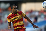 07 May 2016: Fort Lauderdale's Maicon Santos (BRA) heads home the first goal of the game. The Carolina RailHawks hosted the Fort Lauderdale Strikers at WakeMed Stadium in Cary, North Carolina in a 2016 North American Soccer League Spring Season game. The Strikers won the game 3-1.