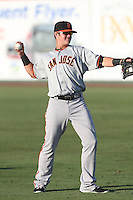 Christian Arroyo (38) of the San Jose Giants throws before a game against the Inland Empire 66ers at San Manuel Stadium on May 30, 2015 in San Bernardino, California. Inland Empire defeated San Jose, 6-4. (Larry Goren/Four Seam Images)