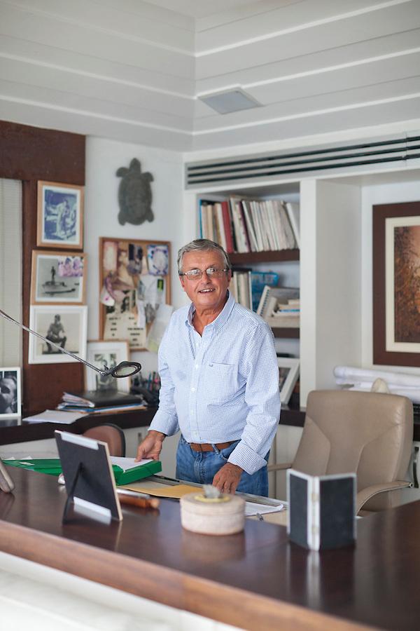 Architect Octavio Raja Gabaglia in his office, in Buzios.