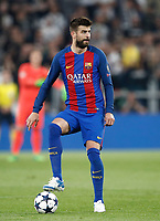 Football Soccer: UEFA Champions UEFA Champions League quarter final first leg Juventus-Barcellona, Juventus stadium, Turin, Italy, April 11, 2017. <br /> Barcelona's Gerard Piqué in action during the Uefa Champions League football match between Juventus and Barcelona at the Juventus stadium, on April 11 ,2017.<br /> UPDATE IMAGES PRESS/Isabella Bonotto