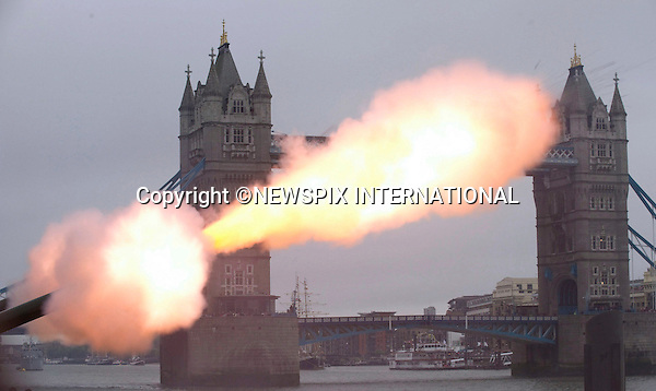 "QUEEN'S JUBILEE PAGEANT.The Honourable Artillery Company (HAC), the City of London?s Territorial Army regiment and the oldest regiment in the British Army, firing a 41 round Gun Salute from Gun Wharf  at HM Palace and Fortress, The Tower of London on Sunday 3rd June at 15.40 hours on the occasion of HM Queen's Diamond Jubilee River Pageant. 03/06/2012.Mandatory Credit Photo: ©M Larner/NEWSPIX INTERNATIONAL..**ALL FEES PAYABLE TO: ""NEWSPIX INTERNATIONAL""**..IMMEDIATE CONFIRMATION OF USAGE REQUIRED:.Newspix International, 31 Chinnery Hill, Bishop's Stortford, ENGLAND CM23 3PS.Tel:+441279 324672  ; Fax: +441279656877.Mobile:  07775681153.e-mail: info@newspixinternational.co.uk"