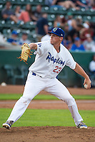 Clint Freeman (23) of the Ogden Raptors delivers a pitch to the plate against the Grand Junction Rockies in Pioneer League action at Lindquist Field on July 6, 2015 in Ogden, Utah. Ogden defeated Grand Junction 8-7. (Stephen Smith/Four Seam Images)
