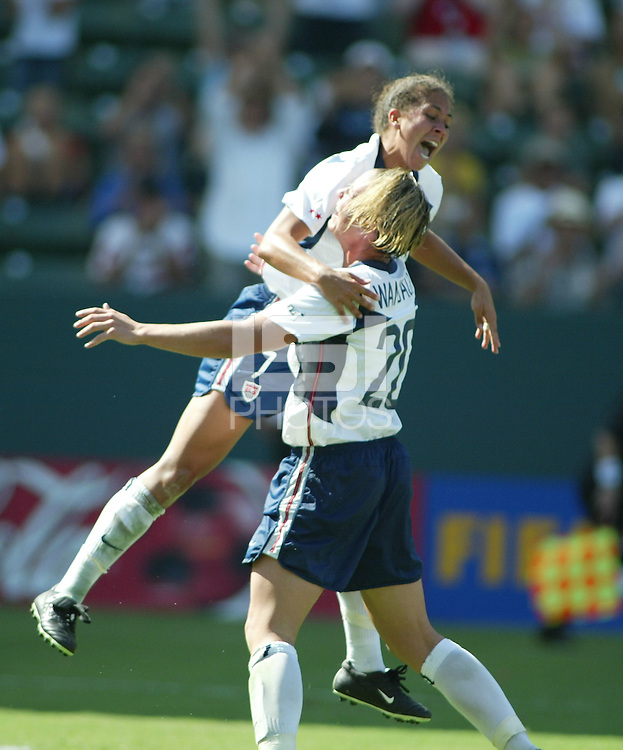 Shannon Boxx, left, Abby  Wambach, right, , vs Canada, 2003 WWC Consolation Finals.