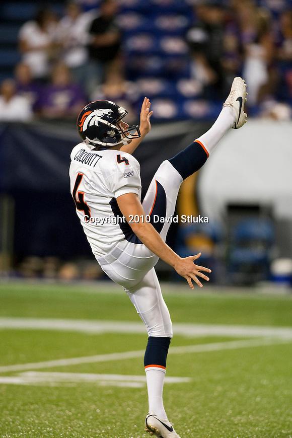 Denver Broncos punter Britton Colquitt (4) punts the ball during warmups prior to an NFL preseason football game against the Minnesota Vikings in Minneapolis, Minnesota on September 2, 2010. (AP Photo/David Stluka)