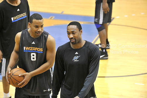Washington, DC - December 31, 2009 -- Washington Wizards guards Gilbert Arenas (0), right, and Javaris Crittenton (8), left, share some thoughts following the team's practice at the Verizon Center in Washington, D.C. on Thursday, December 31, 2009..Credit: Ron Sachs / CNP..(RESTRICTION: NO New York or New Jersey Newspapers or newspapers within a 75 mile radius of New York City)