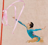 Liubouv Charkashyna (BLR) performs with the ribbon during the final of the 2nd Garantiqa Rythmic Gymnastics World Cup held in Debrecen, Hungary. Sunday, 07. March 2010. ATTILA VOLGYI