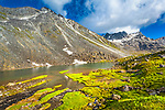 Upper Reed Lake and Talkeetna Mountains with meadow. Hatcher Pass, Mat-Su Valley, Southcentral Alaska, Summer.