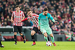 Lionel Andres Messi (r) of FC Barcelona is followed by Aymeric Laporte of Athletic Club during their Copa del Rey Round of 16 first leg match between Athletic Club and FC Barcelona at San Mames Stadium on 05 January 2017 in Bilbao, Spain. Photo by Victor Fraile / Power Sport Images