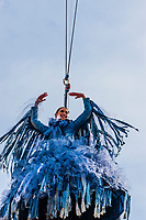 "The Flight of the Eagle (Volo Dell'Aquila), showgirl and actress Melissa Satta ""flies"" down from the Campanile (Bell Tower) to a stage in Piazza San Marco during the Venice Carnival, Venice, Italy."