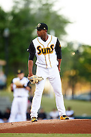 Jacksonville Suns starting pitcher Jarlin Garcia (30) looks in for the sign during a game against the Mobile BayBears on April 18, 2016 at The Baseball Grounds in Jacksonville, Florida.  Mobile defeated Jacksonville 11-6.  (Mike Janes/Four Seam Images)