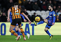 Bolton Wanderers' Erhun Oztumer competing with Hull City's Reece Burke<br /> <br /> Photographer Andrew Kearns/CameraSport<br /> <br /> The EFL Sky Bet Championship - Hull City v Bolton Wanderers - Tuesday 1st January 2019 - KC Stadium - Hull<br /> <br /> World Copyright © 2019 CameraSport. All rights reserved. 43 Linden Ave. Countesthorpe. Leicester. England. LE8 5PG - Tel: +44 (0) 116 277 4147 - admin@camerasport.com - www.camerasport.com