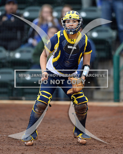 Michigan Wolverines catcher Lauren Sweet (25) waits for a throw during the season opener against the Florida Gators on February 8, 2014 at the USF Softball Stadium in Tampa, Florida.  Florida defeated Michigan 9-4 in extra innings.  (Copyright Mike Janes Photography)