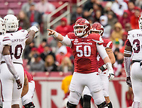 Hawgs Illustrated/BEN GOFF <br /> Jake Raulerson lines up at ceneter for Arkansas after starter Zach Rogers went out with an injury in the first quarter against Mississippi State Saturday, Nov. 18, 2017, at Reynolds Razorback Stadium in Fayetteville.