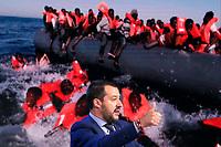Matteo Salvini e sullo schermo dei migranti <br /> Matteo Salvini and on the screen migrants<br /> Roma 20/06/2018. Il Ministro dell'Interno ospite della trasmissione tv Porta a Porta.<br /> Rome 20th of June. Italian Minister of Internal Affairs appears as a guest on the talk show Porta a Porta .<br /> Foto Samantha Zucchi Insidefoto