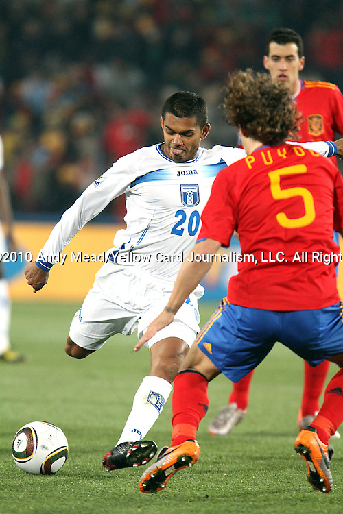 21 JUN 2010:  Amado Guevara (HON)(20) takes a shot.  The Spain National Team defeated the Honduras National Team 2-0 at Ellis Park Stadium in Johannesburg, South Africa in a 2010 FIFA World Cup Group C match.